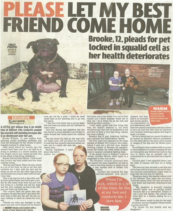 Lennox & Brooke - Daily Mirror Article